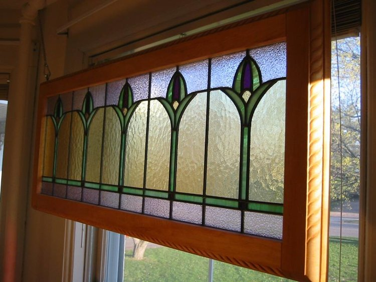 Art Deco Stained Glass Tulip Design, Peterson Home - Greenwood, WI