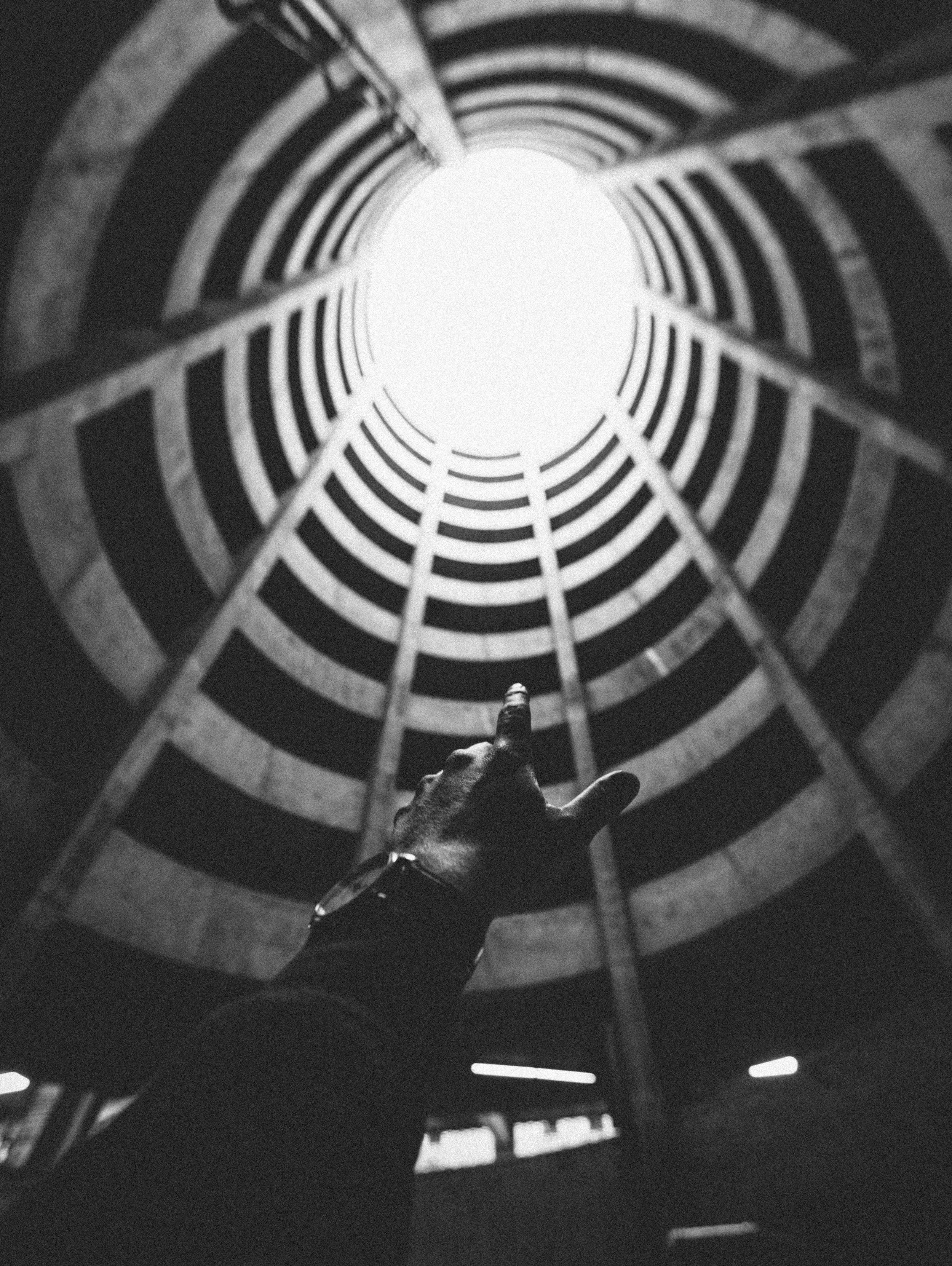 SF tunnel parking look up hand (vintage) b&w.jpg