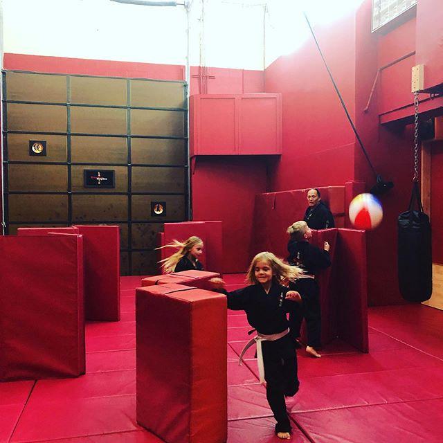 Escape the ball! Hide behind a barrier.  #ninjakids #saitobloodlineninjitsu #mastermaui #scottsdalekids #scottsdale #dojo #ninjitsu #martialartslife