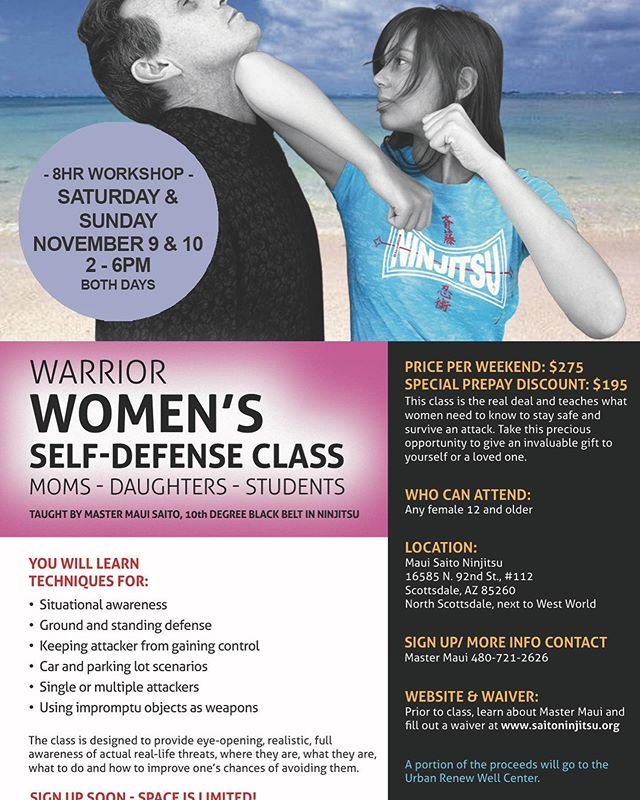 Last one of the year! Any woman or teen girl should learn #selfdefensetraining - we all need to be more aware of our surroundings and if threatened feel able to deal with it head on!  Join us Sat/Sun 2-6pm.  #situationalawareness #womensselfdefense #selfdefenseclass #scottsdaleaz #saitobloodlineninjitsu #mastermaui #ninjitsutraining