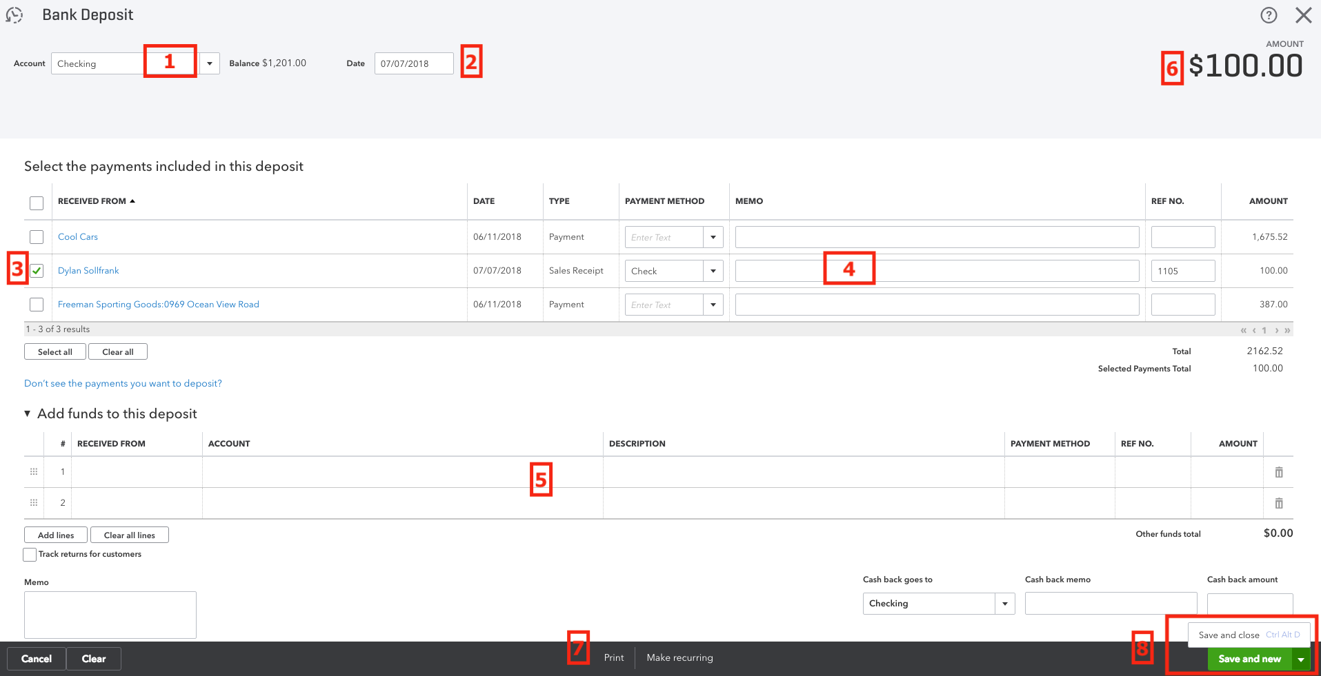 QuickBooks Online Bank Deposit Screen.png
