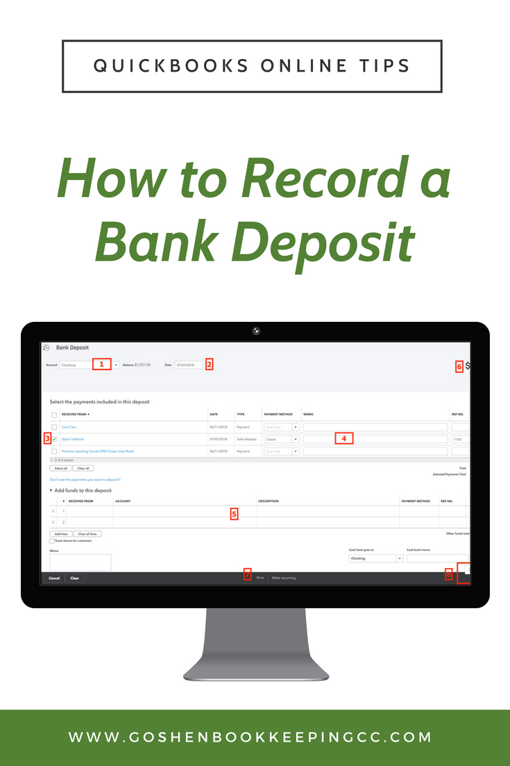 How to Record a Bank Deposit in QuickBooks Online