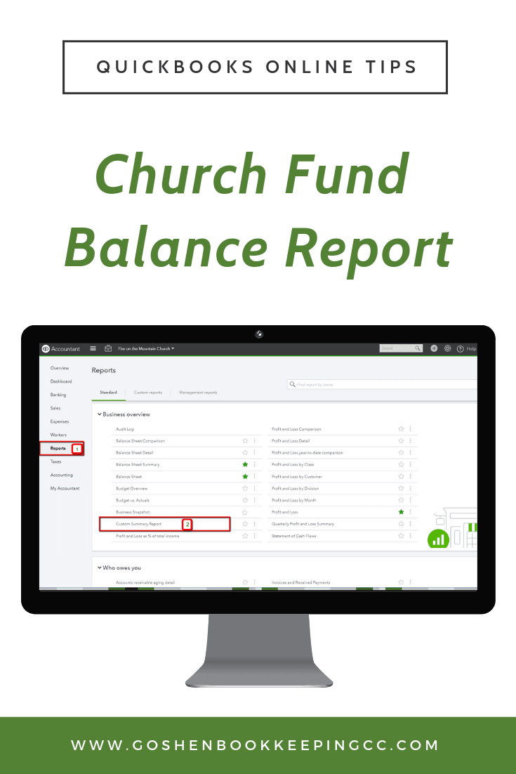 Church Fund Balance Report In QuickBooks Online | Goshen Bookkeeping & Consulting