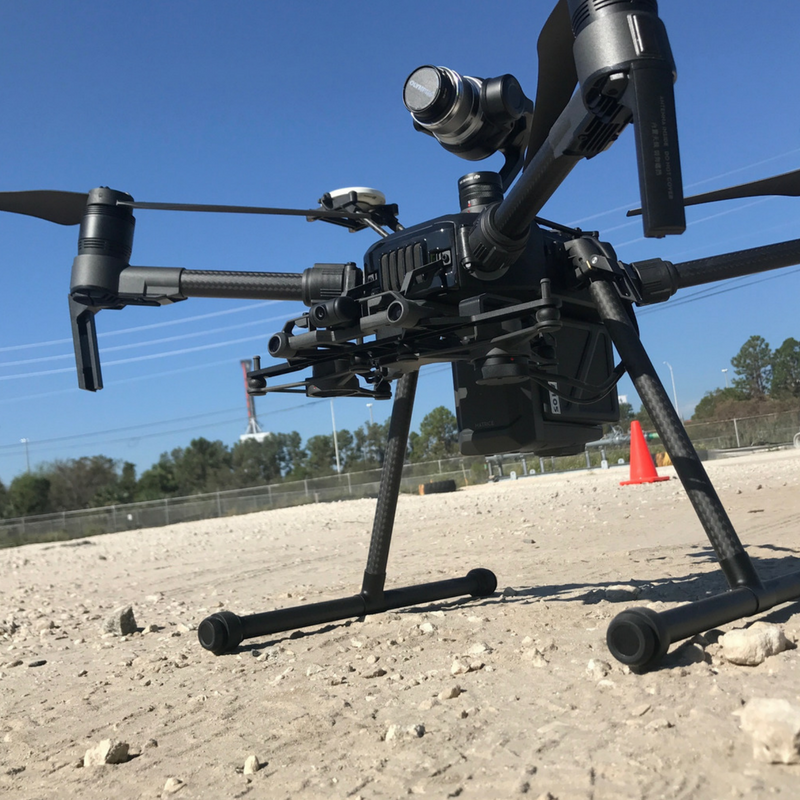 DJI Matrice 210 in landing mode with external GPS for search and rescue drones