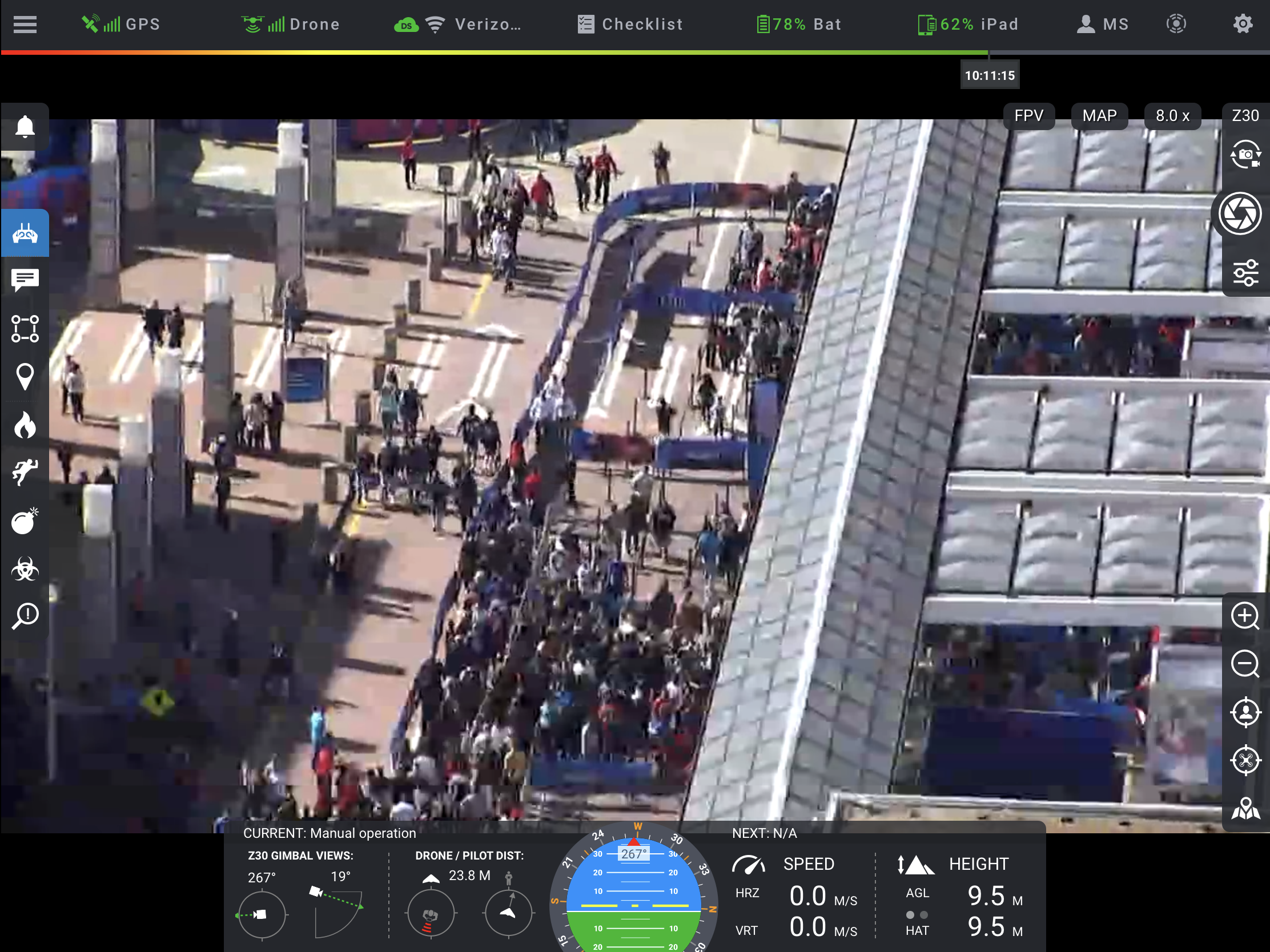 Zenmuse Z30 camera zooming in on crowd in the Super Bowl village in Centennial Olympic Park.