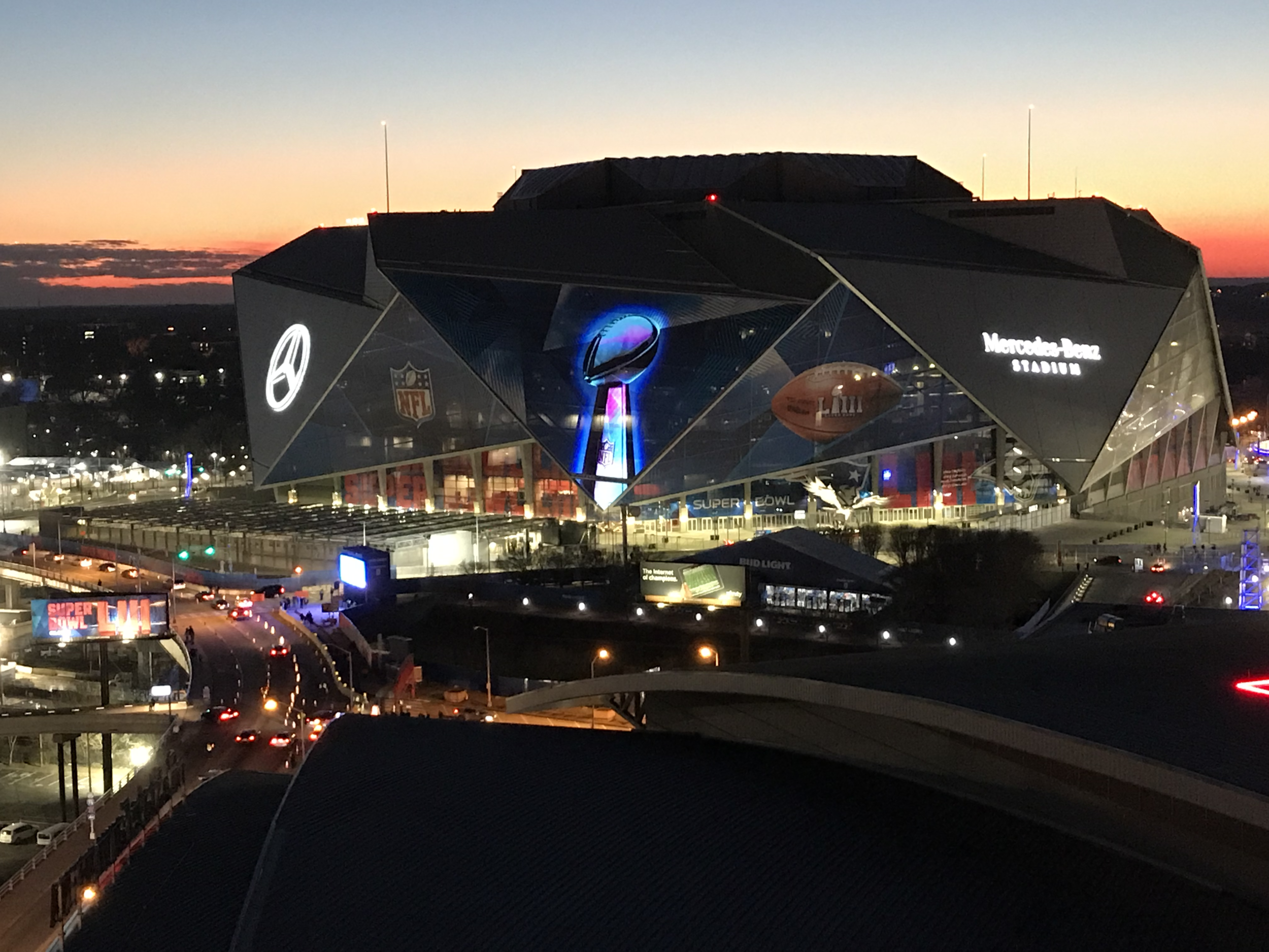Mercedes-Benz Stadium at sunset, night of Super Bowl LIII.