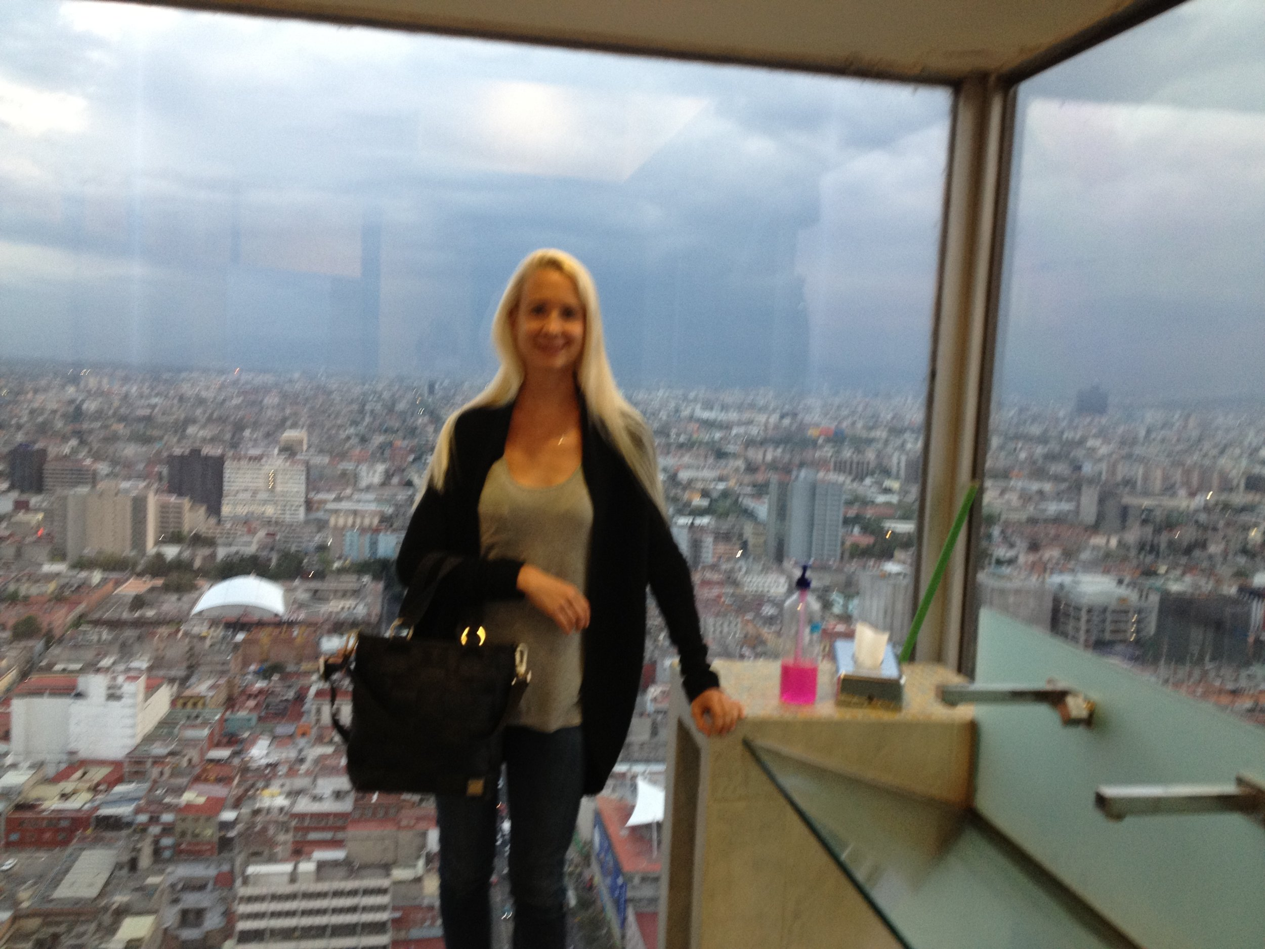 Me in the bathroom at the Latin American Tower-- picture the views from the bar!