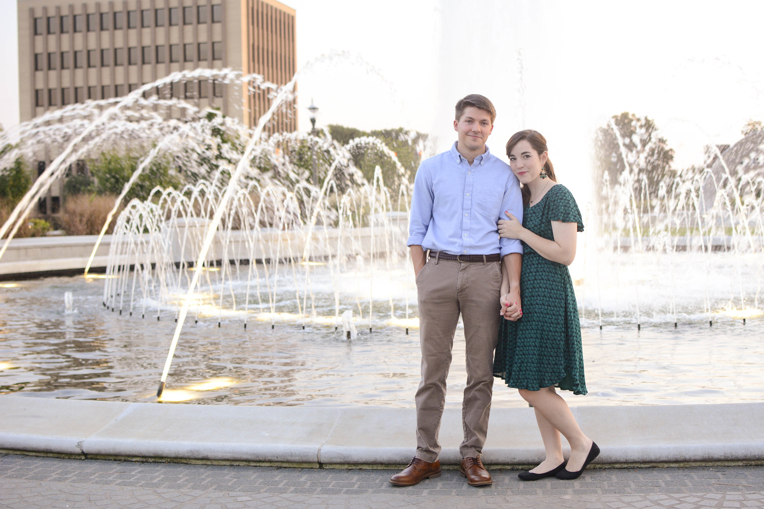 downtown Rock Hill fountain engagement photo
