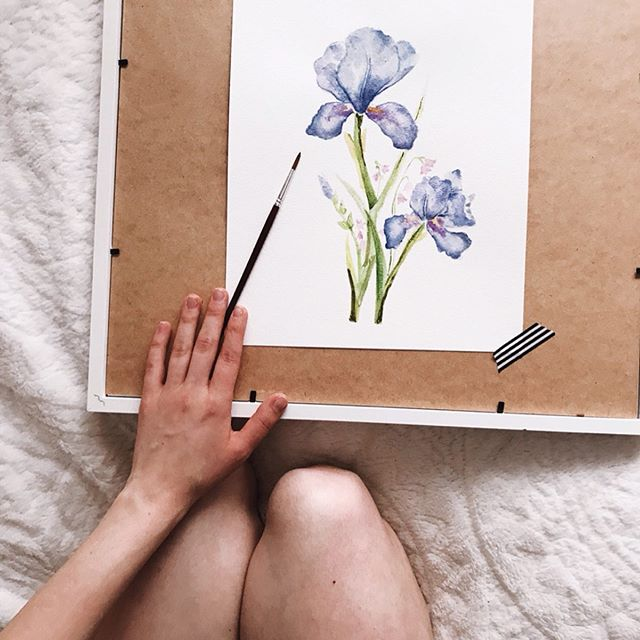 Blue Iris 2019 Watercolor . #beckyfrancesart