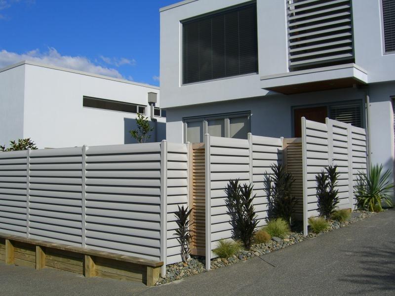 (3) Aluminium louvre fence with cedar screens