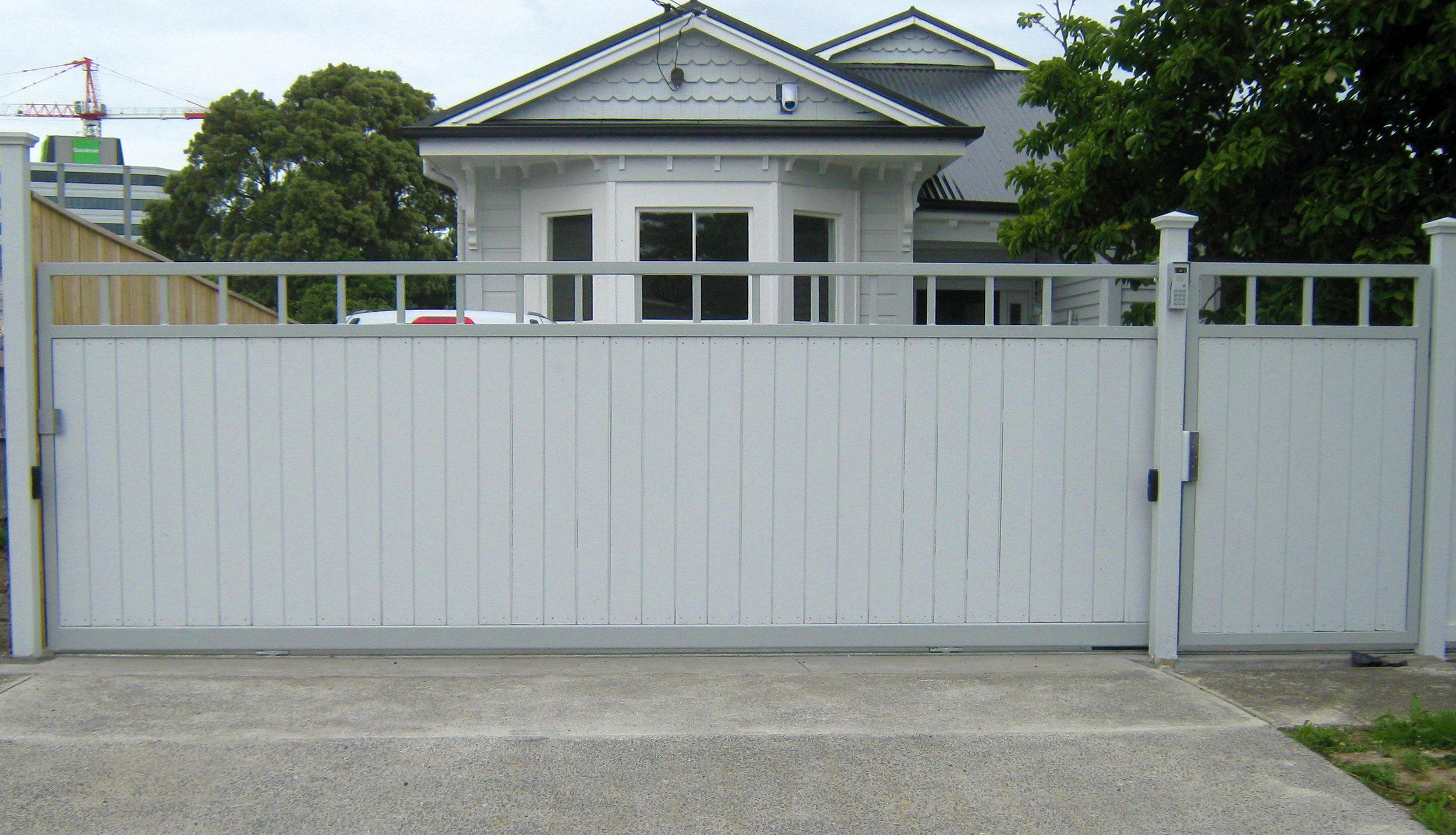 (27) Custom built timber & steel gates