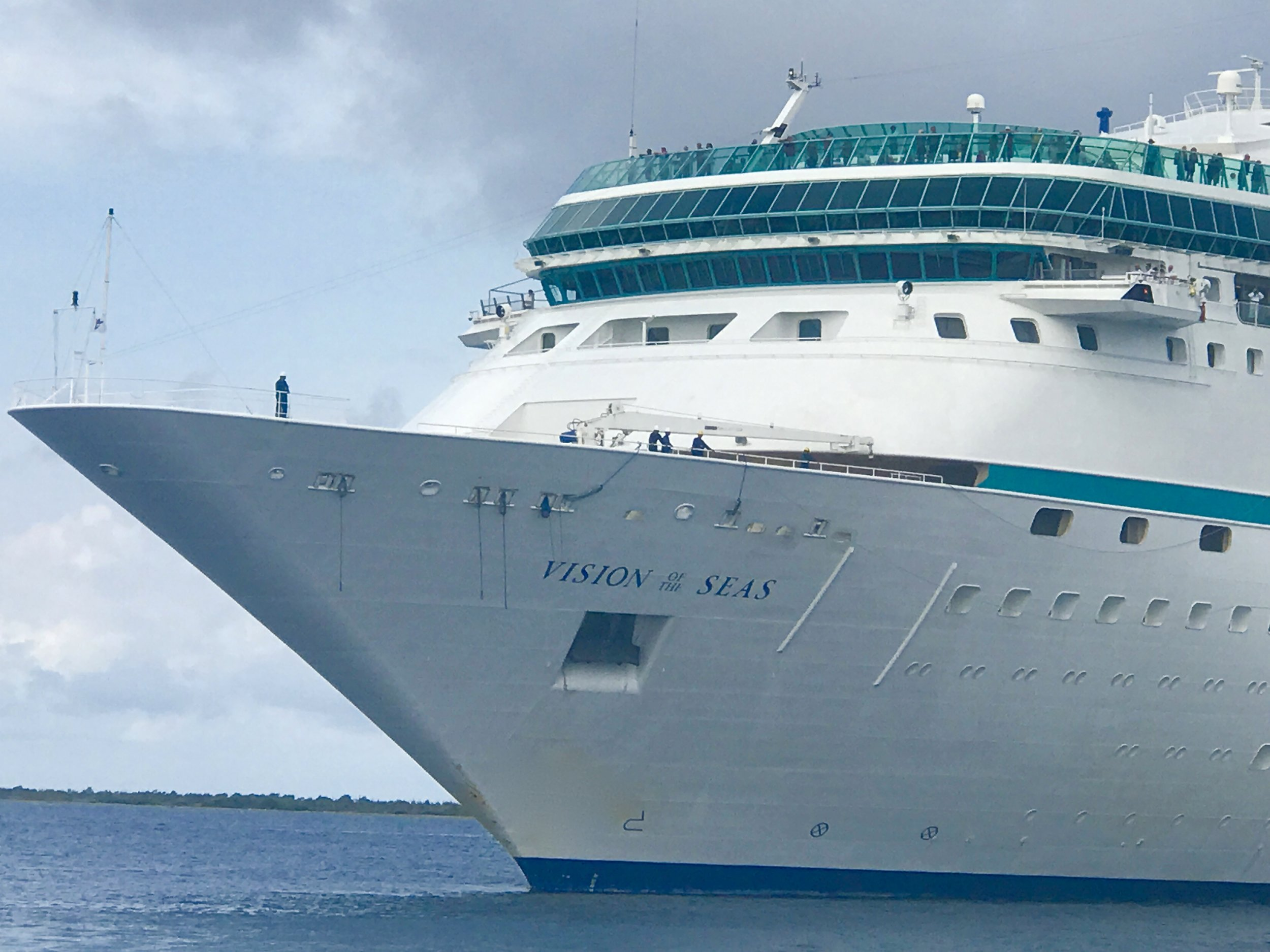 Vision of the Seas sailing into Bonaire's harbour