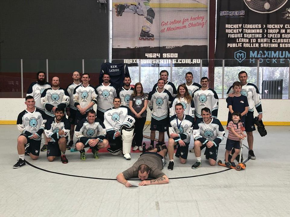 The New South Wales Men's Indoor Lacrosse Team... after a long day of tough competition.