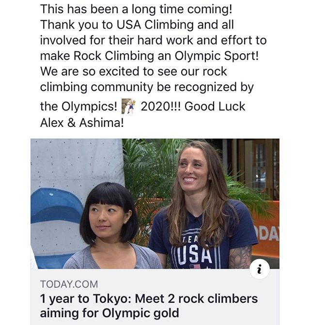We are beyond excited to see the climbing community become part of the 2020 Olympics! Good luck Alex and Ashima! #olympics #olympics2020 #tokyo #rockclimbing #climbing #climbon #olympian #indoorrockclimbing #homewood #illinois #rockgym