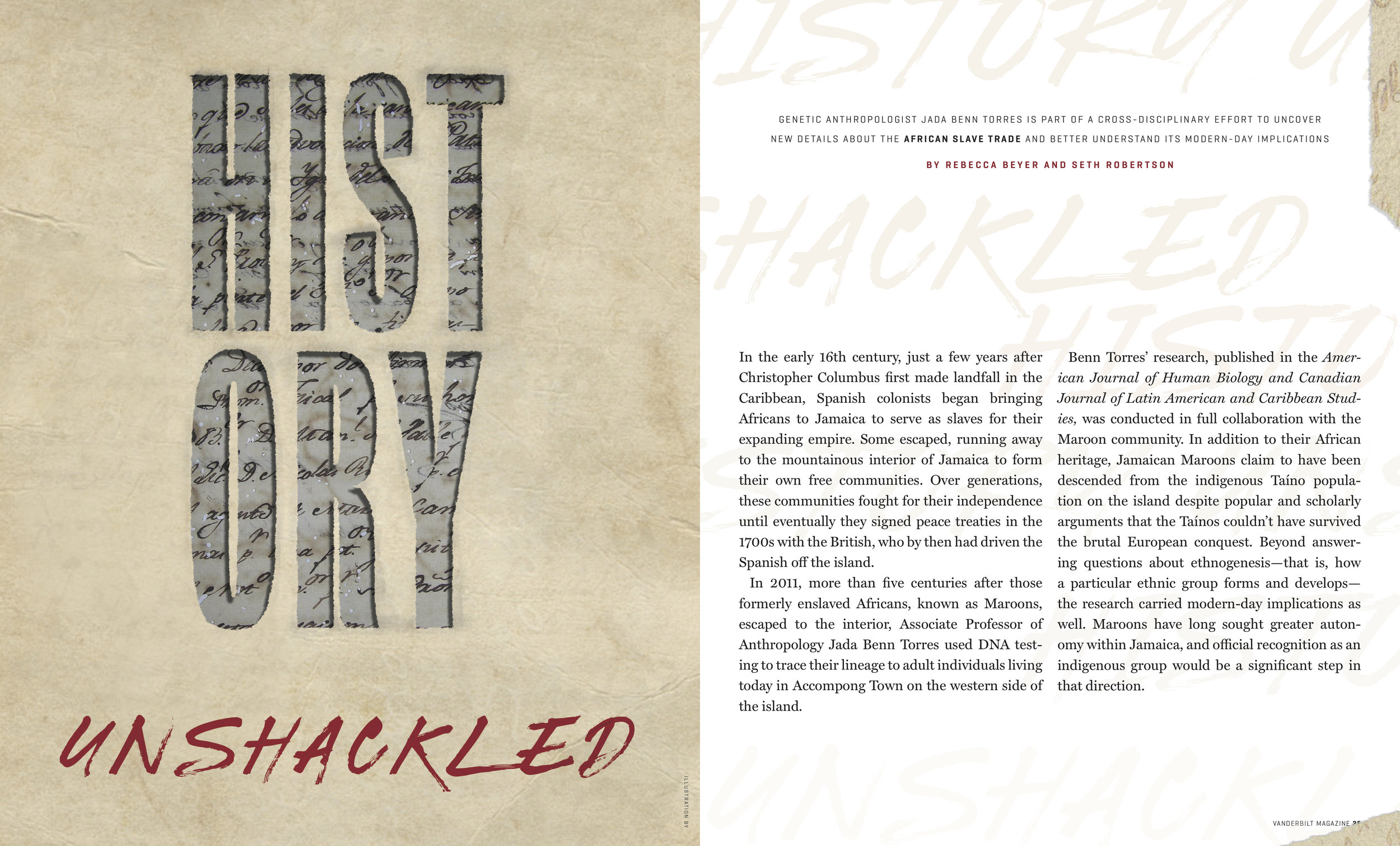 Spread main art and layout design for History Unshackled feature in 2019 Vanderbilt Magazine