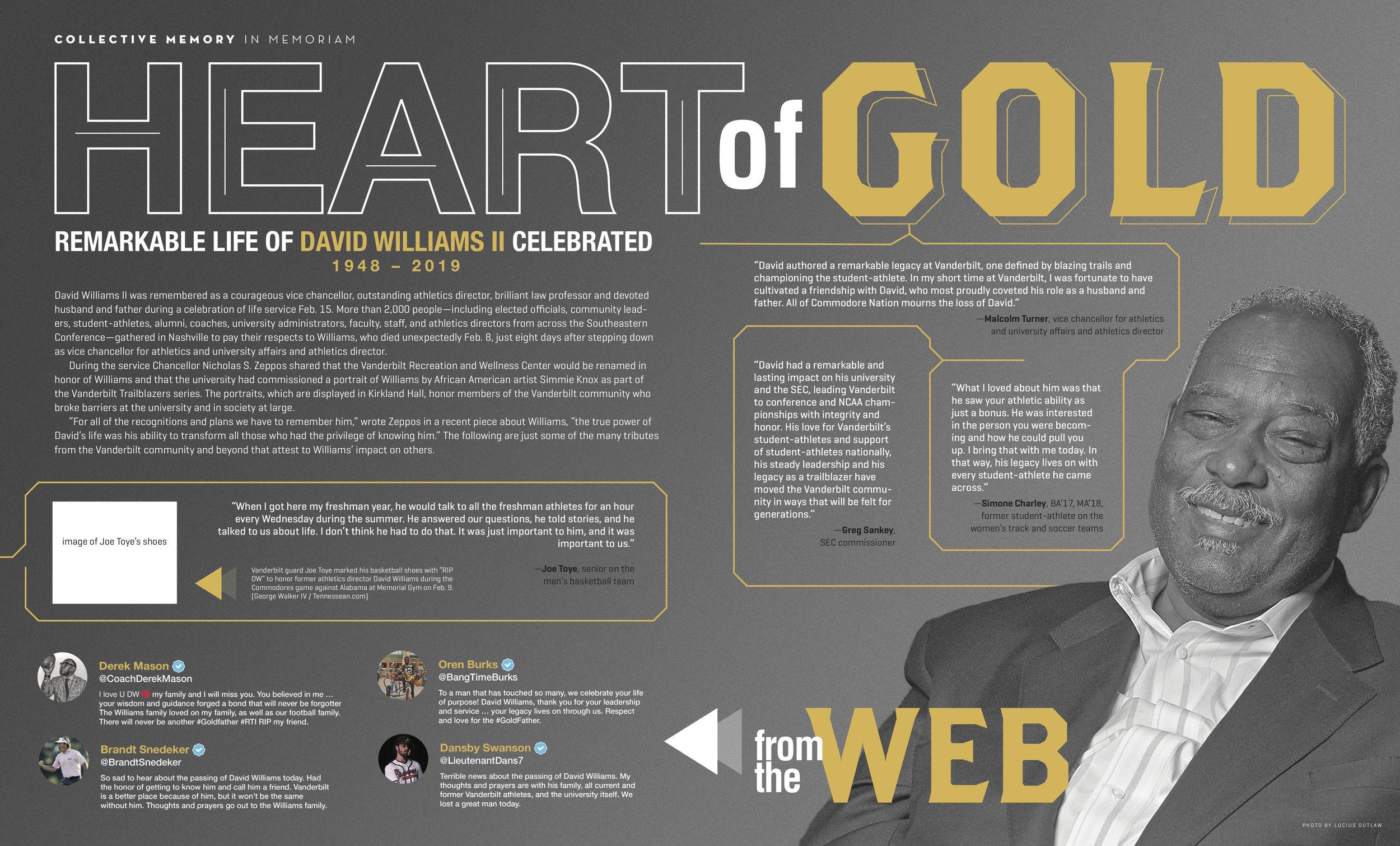 Spread art and layout design for David Williams feature in 2019 Vanderbilt Magazine