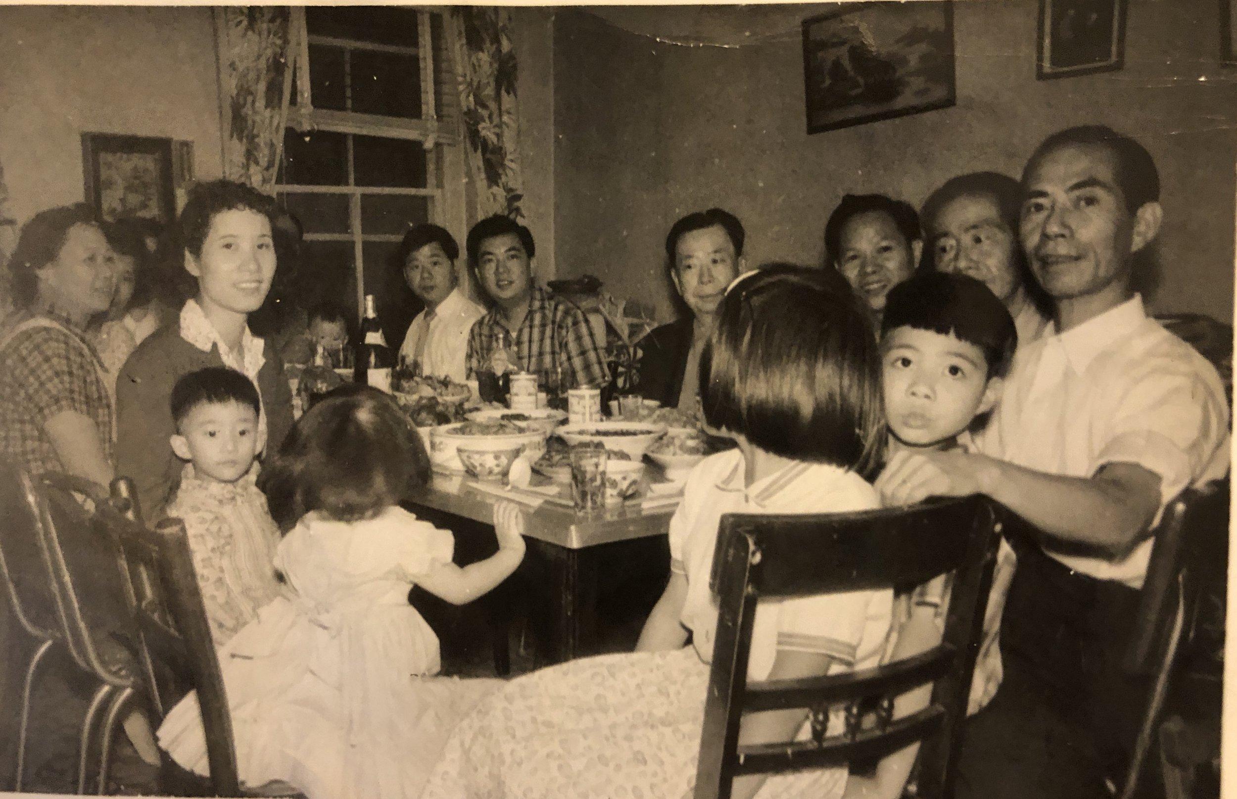 The Yee Family having a celebration dinner at their home on Hudson Street.