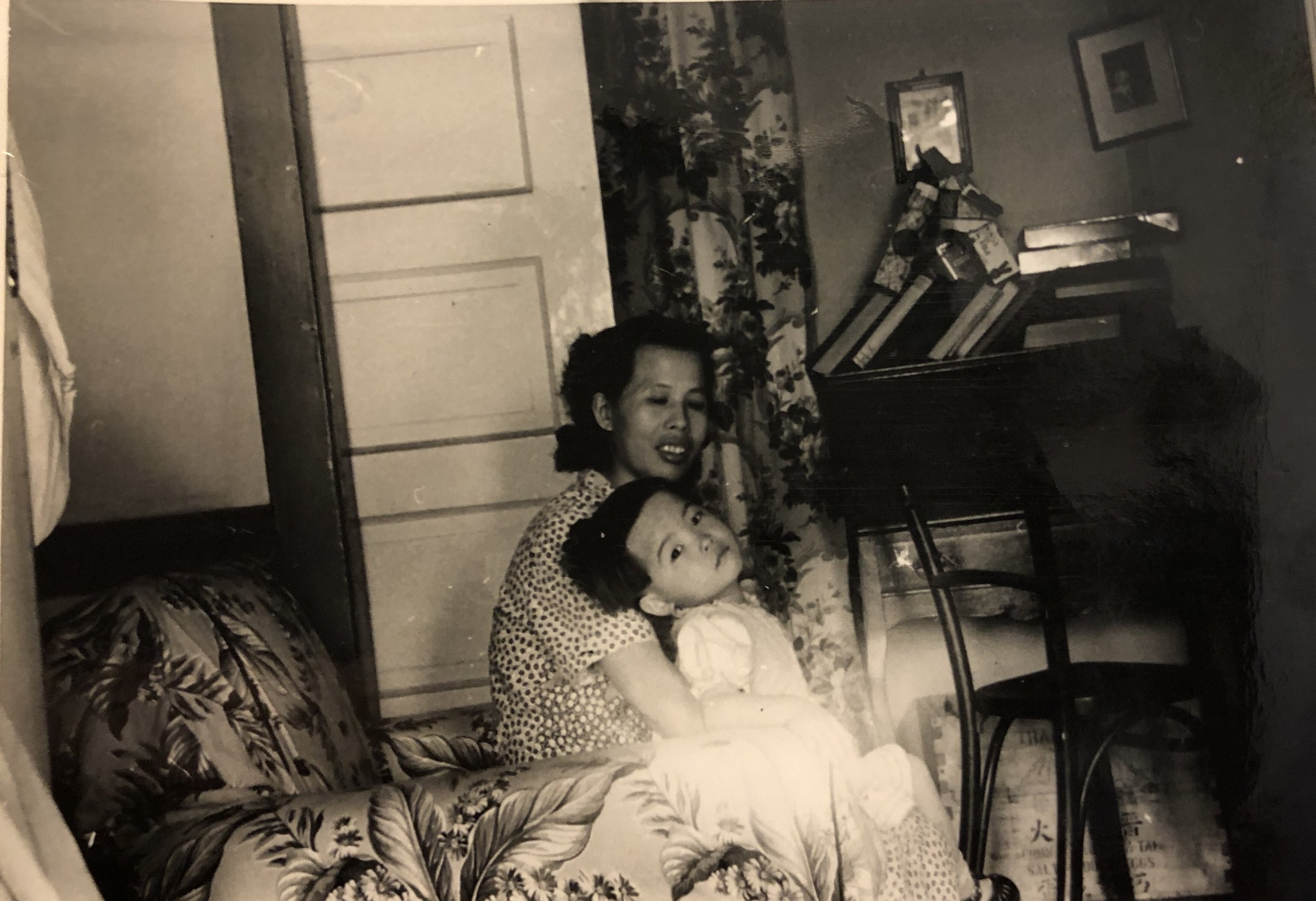 Cynthia with her MaMa, May Soon Yee, in their first American home at 133 Hudson Street, 1950s     (photo courtesy of Cynthia Yee)
