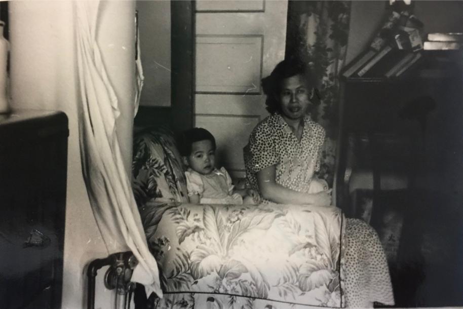 Cynthia Yee with her mother, May-Soon Gee Yee, 133 Hudson Street, 1950s. (photo courtesy of Cynthia Yee)