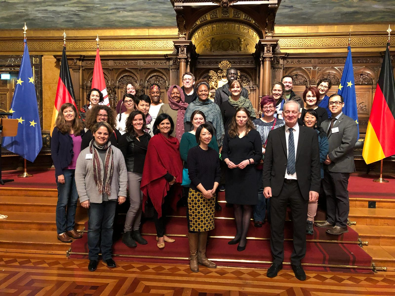 The 2018 WCTE U.S. delegation in Hamburg City Hall
