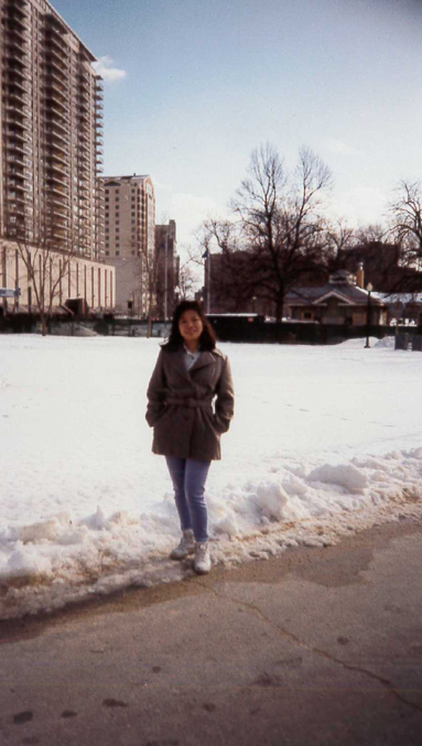 Pictured: My mom standing in a snowy Boston Common, getting accustomed to her new life in America.