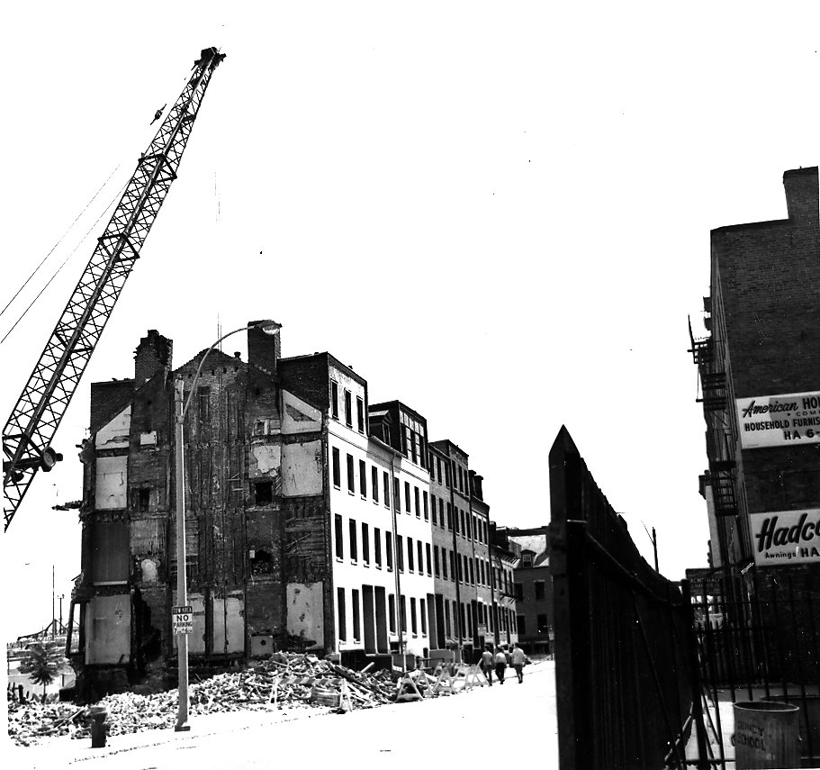 The demolition of East side Hudson street during the construction of the 50s from Chinatown Atlas