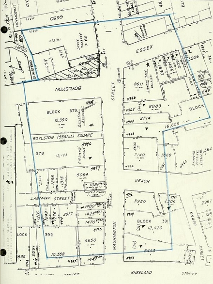 1974 zoning map of the Combat Zone, Boston Redevelopment Authority