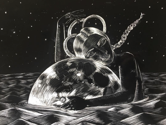 Pictured: Crystal Bi's illustration using a scratch board from her instagram @crystalbi_b    A person with braids hugging the moon