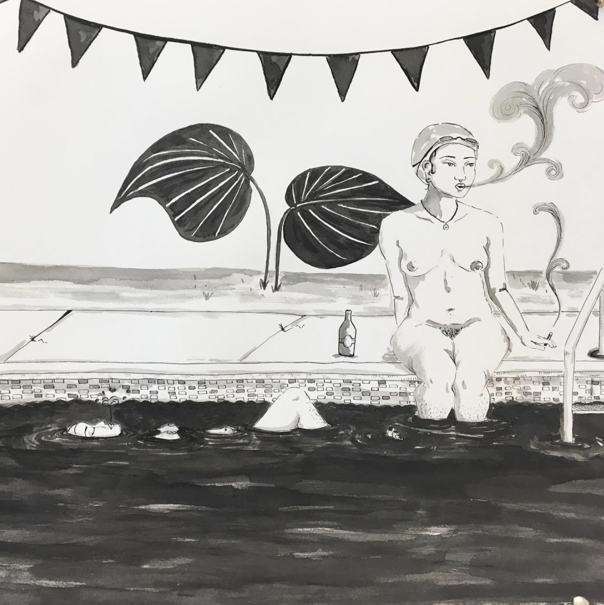 Pictured: Crystal Bi's illustration using pen and ink from her instagram @crystalbi_b    A person sitting on the pool smoking from a cigarette