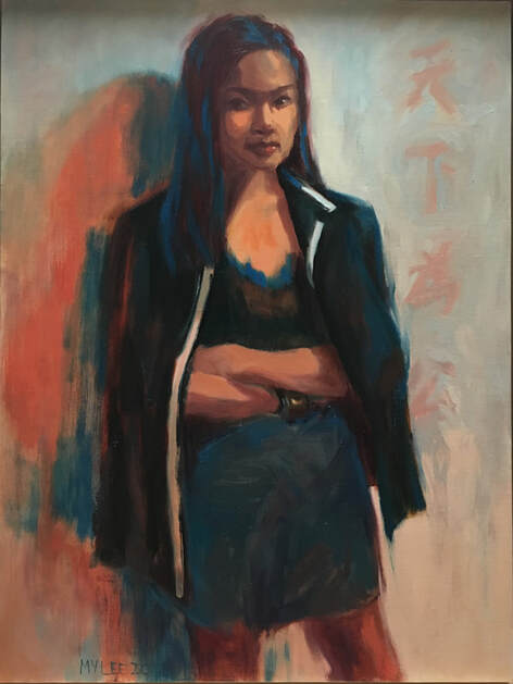 Mary Y. Lee's portrait of Selina,  Dare to Challenge , 2018. Oil on linen. Image courtesy of artist.