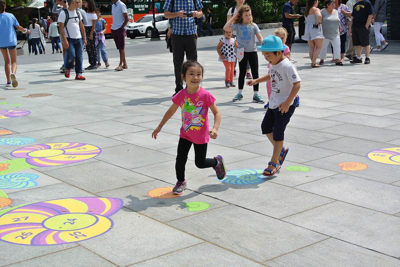 Playful Perspective Hopscotch, 2017,  a collaborative work between Ponnapa and the Rose Kennedy Greenway ;  image courtesy of the artist
