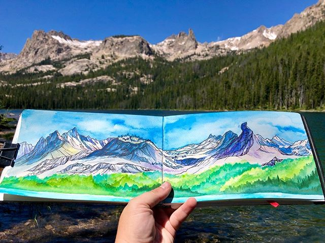 No matter how many times I see them or hike in them, the beauty of the Sawtooth mountains never gets old.  Worked on this painting most of Saturday afternoon next to the lake but ended up finishing it in our tent later since a huge summer storm took over and drenched the place. I have to say it was pretty nice sitting in the tent painting, Caitlin reading, while listening to the rain pouring down on our tent and the thunder cracking overhead for a long time.  What an amazing weekends I never tire of time spent in the mountains or with @caitlinlanier ❤️ I'll have to find the painting I did of finger of fate a few years ago when I had just started painting and do a side by side comparison :)