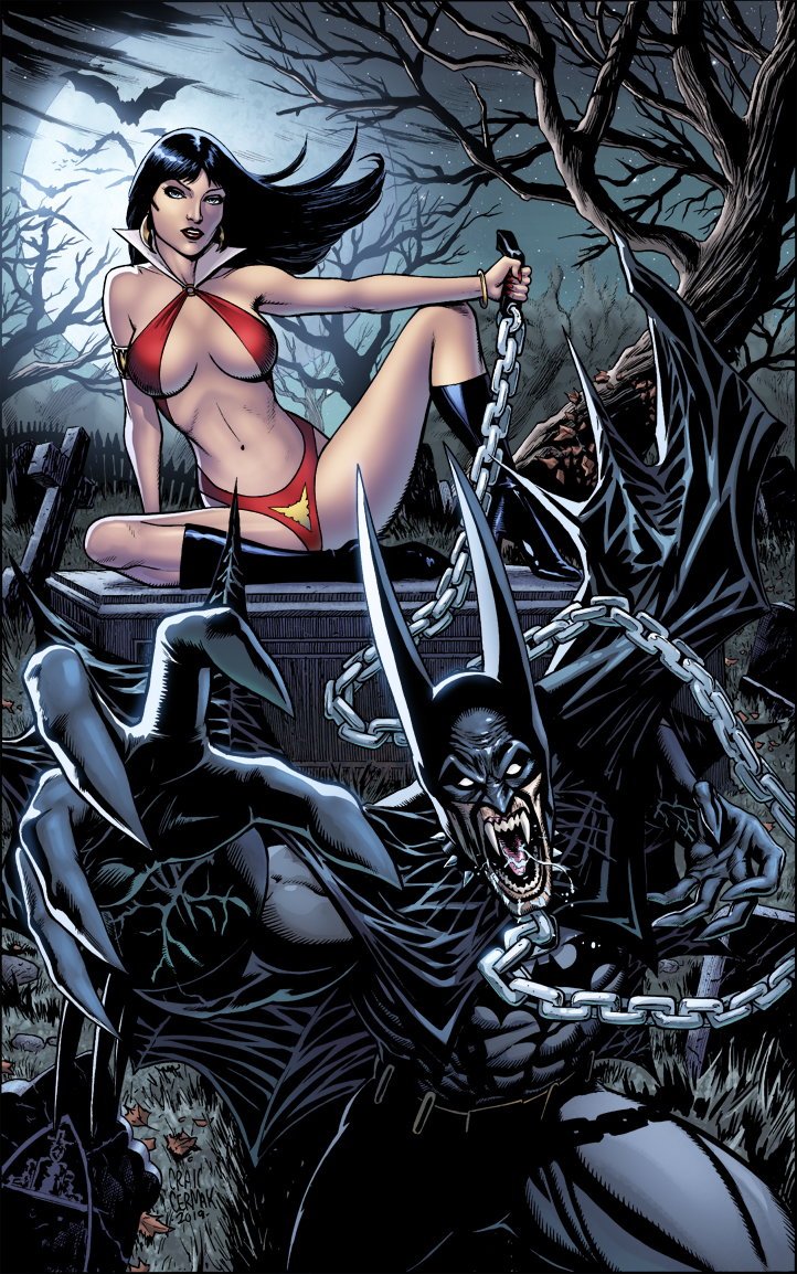 Vampirella & Batman - Personal Color Commission  Art by  Craig Cermak