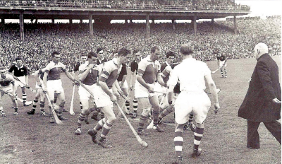 1955 All-Ireland Final. Dr Kinane the Archbishop of Cashel and Patron of the GAA throws in the ball to start the final between Wexford and Galway. This had been the practice since 1884 but ceased in the 1970s; from then on, the only players present for the throw-in are those at centrefield.