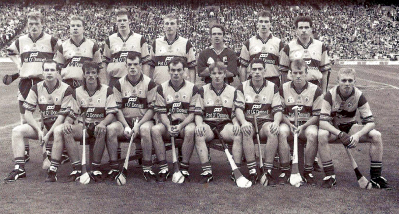 1995 The Clare senior hurling team that made the breakthrough to win their first All-Ireland since 1914.  Back row: Brian Lohan, Michael O'Halloran, Frank Lohan, Conor Clancy, David Fitzgerald, Sean McMahon, Ger O'Loughlin.  Front row: Liam Doyle, PJ. O'Connell, Ollie Baker, Anthony Daly, James O'Connor, Fergal Hegarty, Fergus Tuohy, Stephen McNamara.