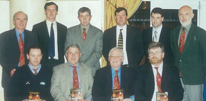 At the launch of Justin McCarthy's book 'Hooked, at Rochestown Park Hotel, Cork on April 22, 2002 Back row, left to right: Seamus J. King, John Grogan, John Ryan, Tommy Grogan, Raymie Ryan, Cormac Bonnar; Front row, left to right: Michael Perdue, Jack Darmody, Mattie Finnerty, Ger Slattery.