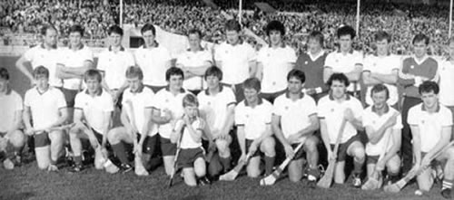 Cappawhite: County and West S.H. Champions 1987  Back row. left to right: N. Buckley, G. O'Neill, T. Coughlan, S. Ryan (L), J. Ryan (P), C. Ryan (H), G. Ryan (B), D. O'Neill, M. Ryan (L), A O'Neill, J. Barry,, E. Maguire. Front row, left to right: A. Buckley, P. Buckley, P. O'Neill, M. Buckley, J. O'Neill (capt.), M. McDermott, M. Coughlan, D. Hennessy, D. Ryan (P), E. Ryan (B), D. Quirke