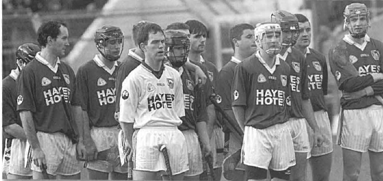 The Thurles Sarsfields team stand together for the National Anthem prior to the county SHC final at Semple Stadium