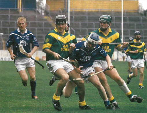 "Action from the County Senior final - Ger ""Redser"" O'Grady (Thurles Sarsfields), Tony Delaney (Toomevara), Johnny Enright (Thurles Sarsfields), and Eoin Brislane (Toomevara)."