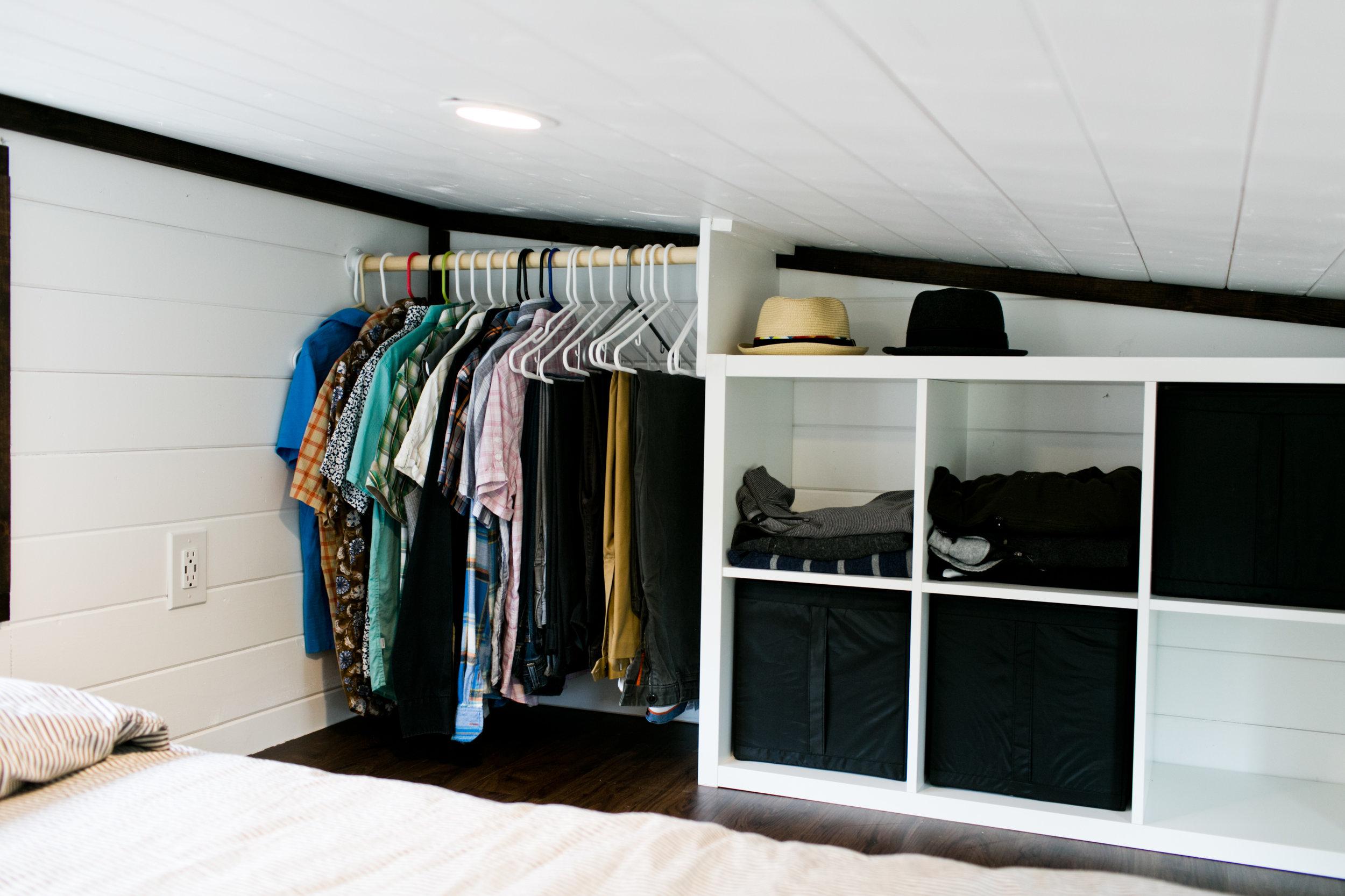 Built in closet in bedroom loft