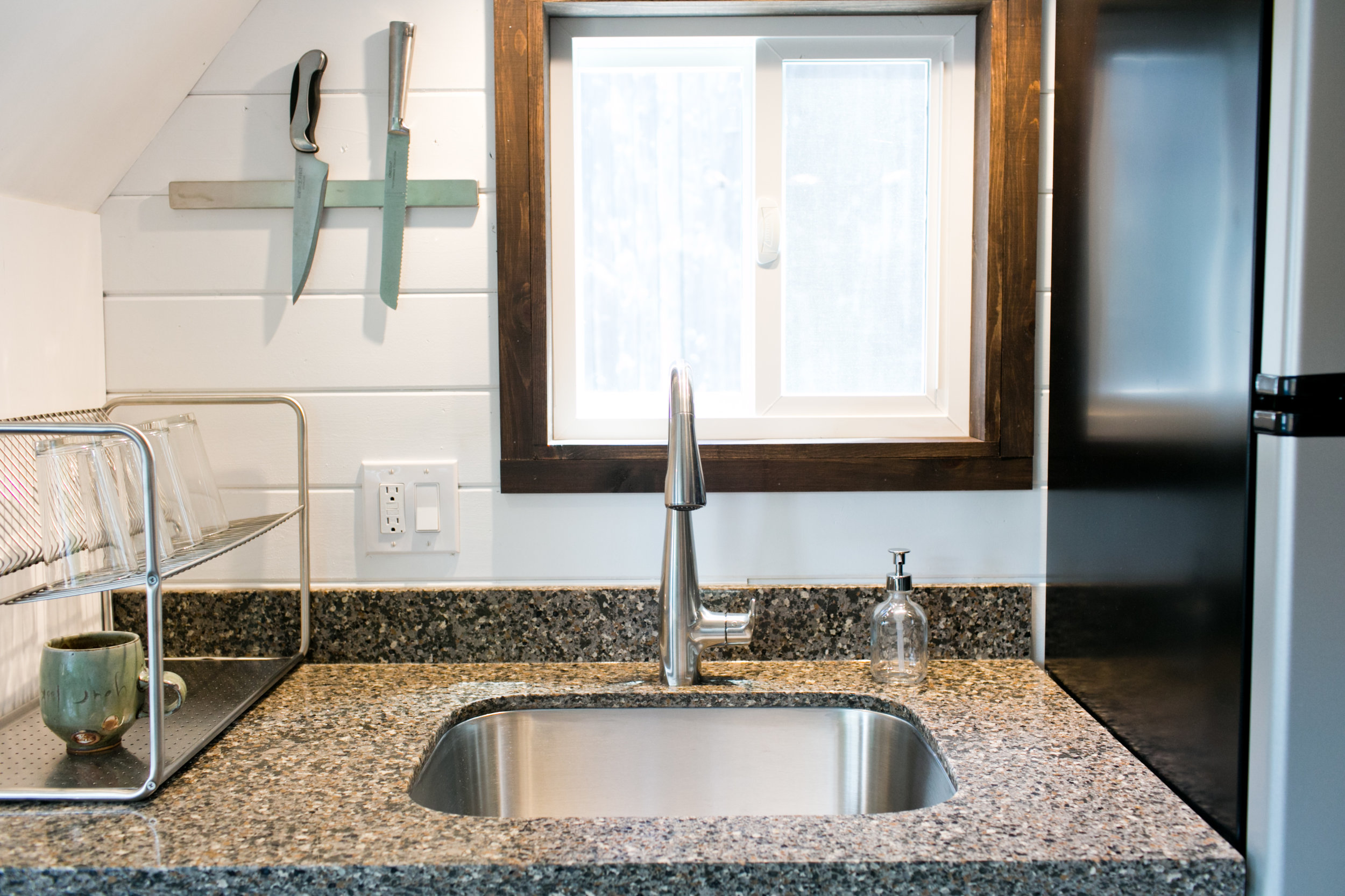 Large under counter mounted stainless sink