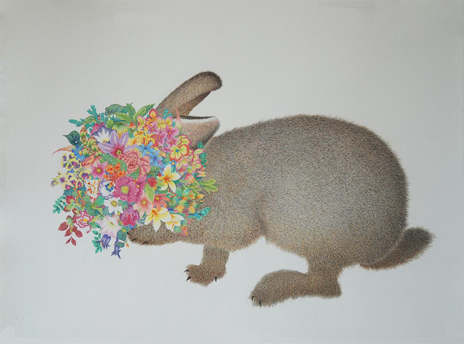 Rabbit, 58x77cm, color pencil on paper, 2013 兔子 58X77cm 纸上彩色铅笔 2013.jpg