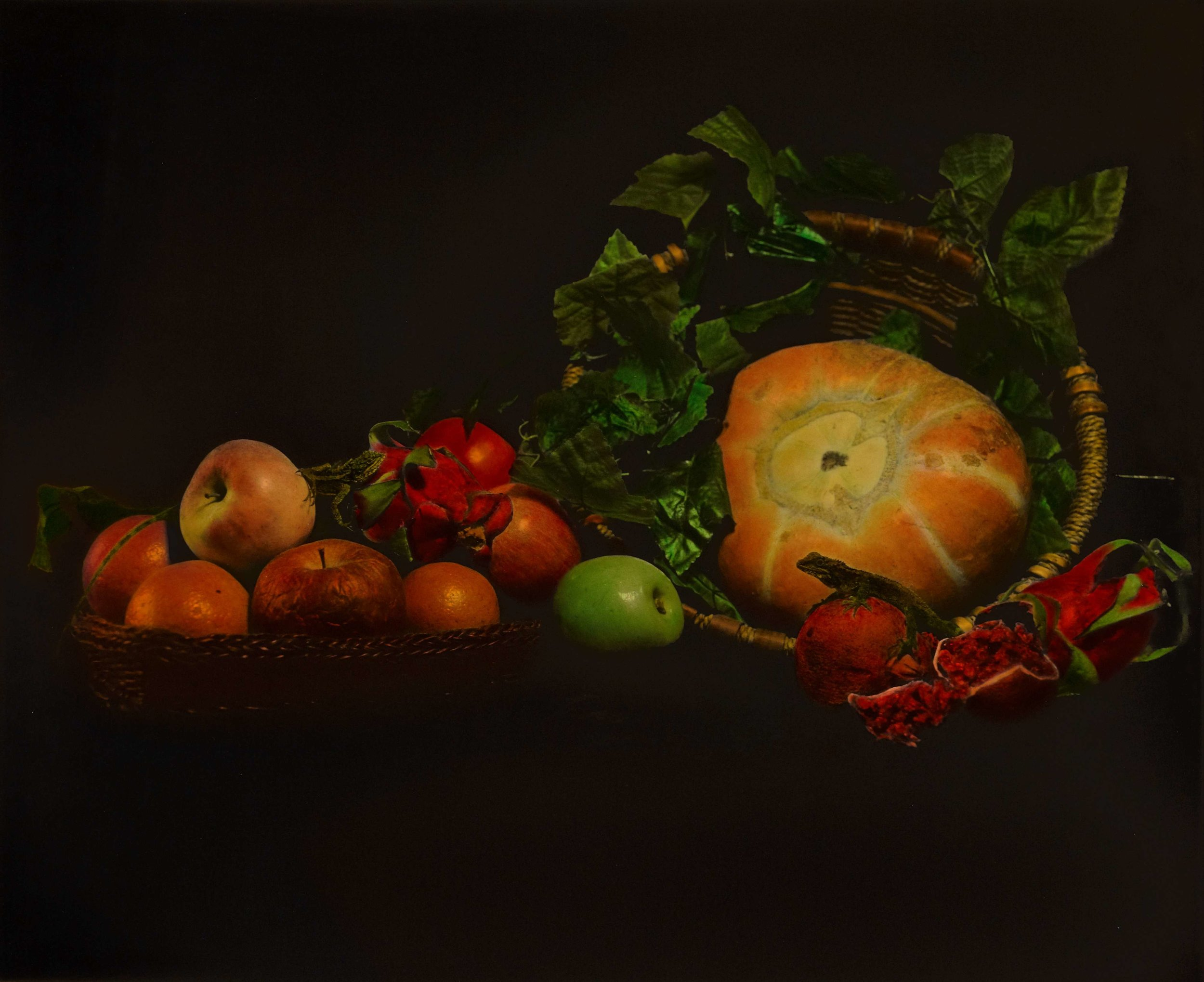 Huang Lei, Still Life 2008 (3-1), hand dyed with oil colour on gelatin silver print 黄磊 静物 2008 (3-1) 63 x 77cm 明胶卤化银黑白照片,手工油彩着色_compressed.jpg