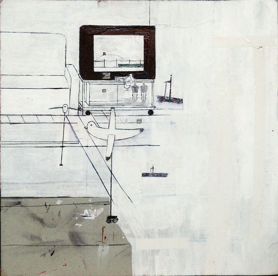 冈部亮佑,起居室,2017,纸上圆珠笔和广告色,15×15 ㎝.jpg