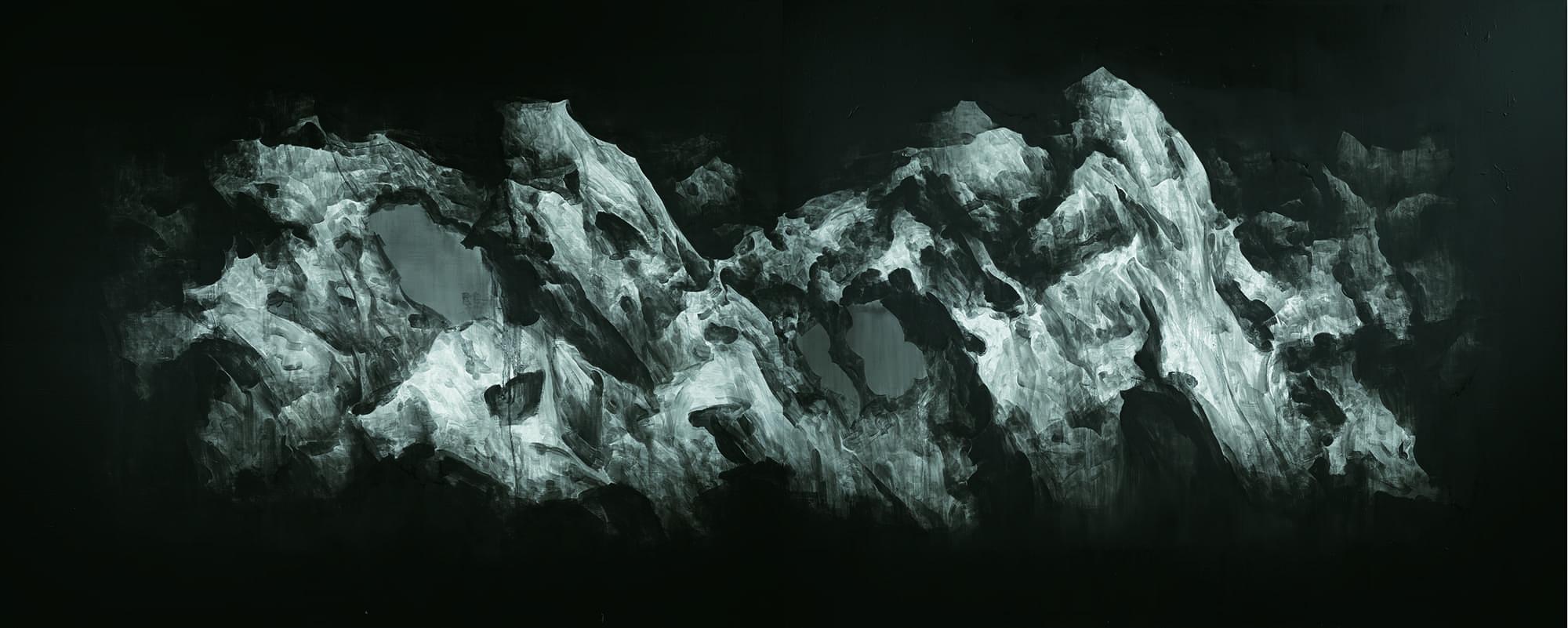 山石系列9号 2012 布面油画 200cm x 500cm Garden Rock Series No.9_2012  oil on canvas 200cm x 250cm x 2.jpg