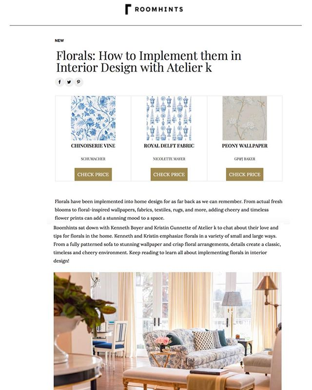Thank you, @roomhints for sharing our favorite design tips for implementing florals into the home! We had so much fun chatting with you! Head on over to their site to read all about it! . . . . @schumacher1889 @nicolettemayer @gpjbaker  #floraldesign #roomhints #designeradvice #floralwallpaper #editorial #ladesigner #publication #interiordesign #interiordesigner #beverlyhills #losangeles #losangelesdesigner #nicolettemayercollection #schumacher #gpjbaker #lifeofadesigner #instagood #decoration #style