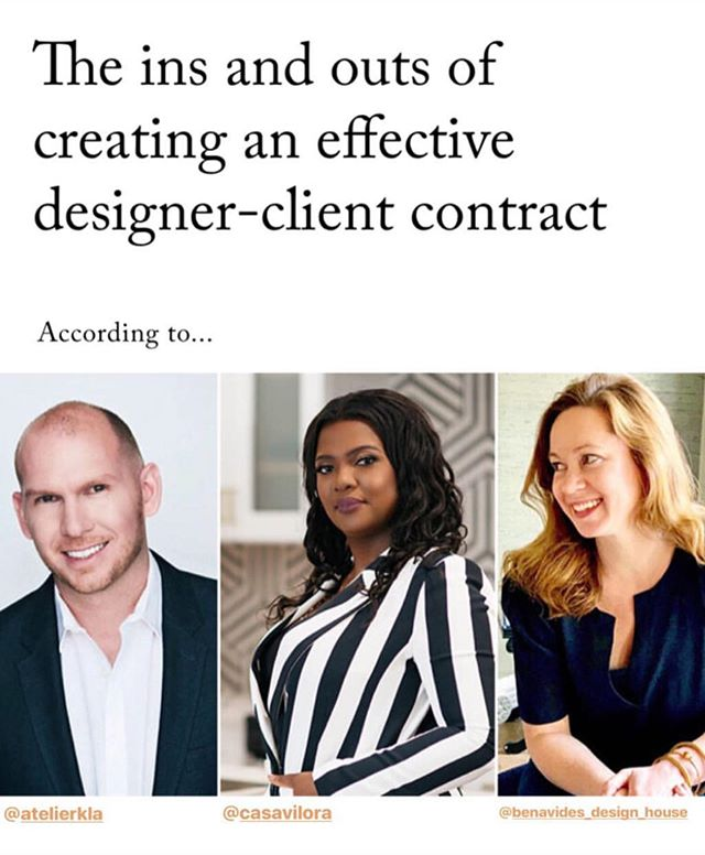 "Designer-Client contracts are at the foundation of every great design project! We're sharing our favorite tips for developing an effective and successful contract over on @businessofhome in today's ""Trade Tales!"" Head on over to their site to read all about it. . . . . #businessofhome #editoratlarge #designercontract #designbusiness #lifeofadesigner #ladesigner #instagood #editorial #entrepreneur #losangeles #design #designer #imageoftheday #picoftheday #designtalks #atelierkla #interiors #businessowner #labusiness"