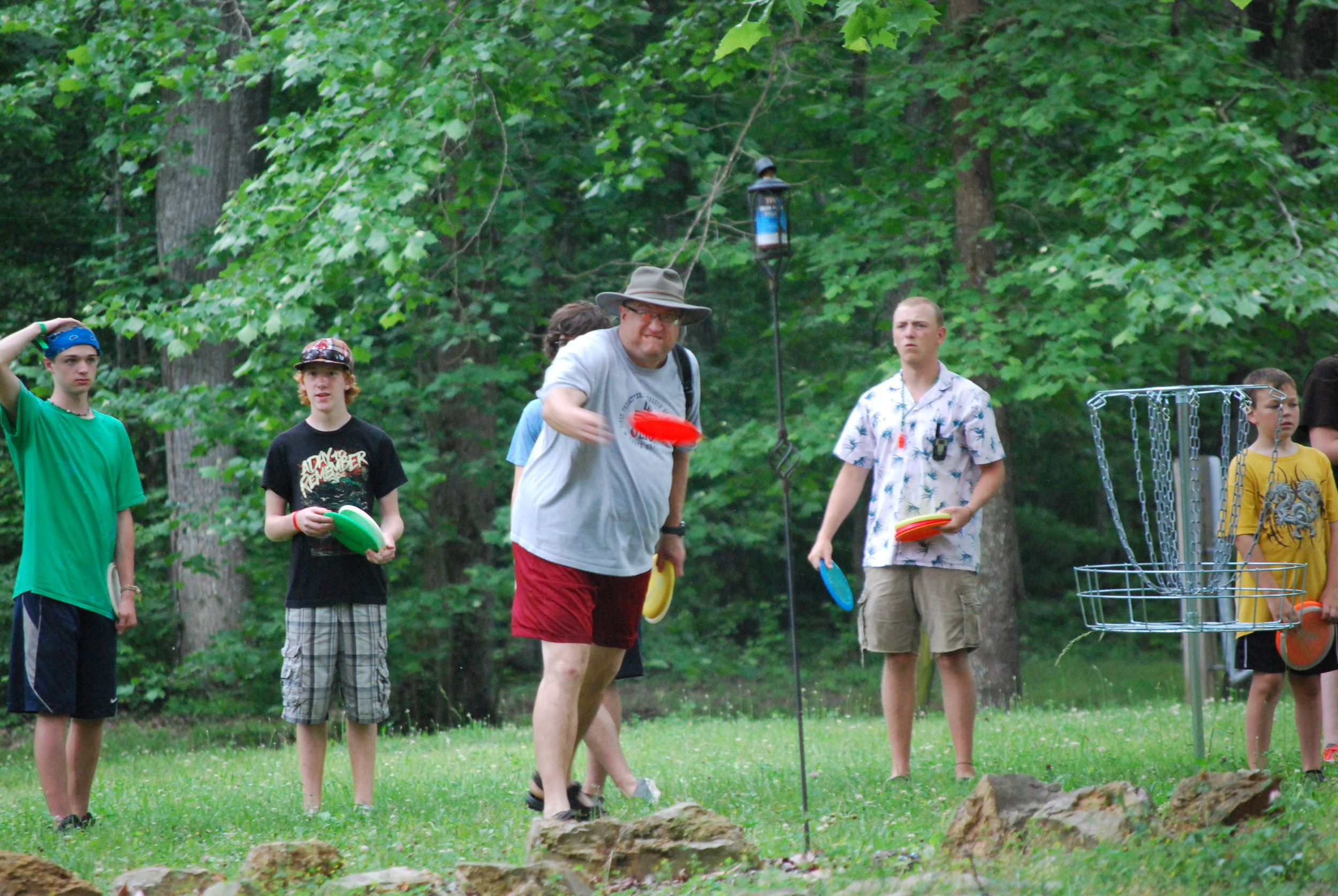 Intergenerational activities, horse shoes at NaCoMe Camp & Conference Center