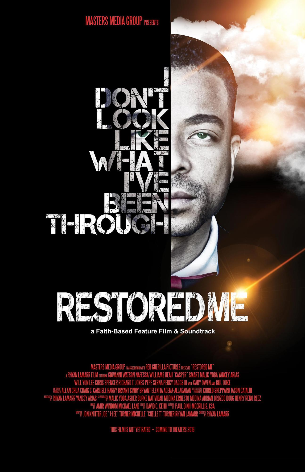 Restored Me (Film - 2016)    Credited: Director of Photography   Starring: Casper Smart, Giovanni Watson  A troubled ex-con joins the colorful crew of an old movie theater and begins to rebuild his life, only to find his faith in God tested when he learns the theater he has grown to love is not what it seems.