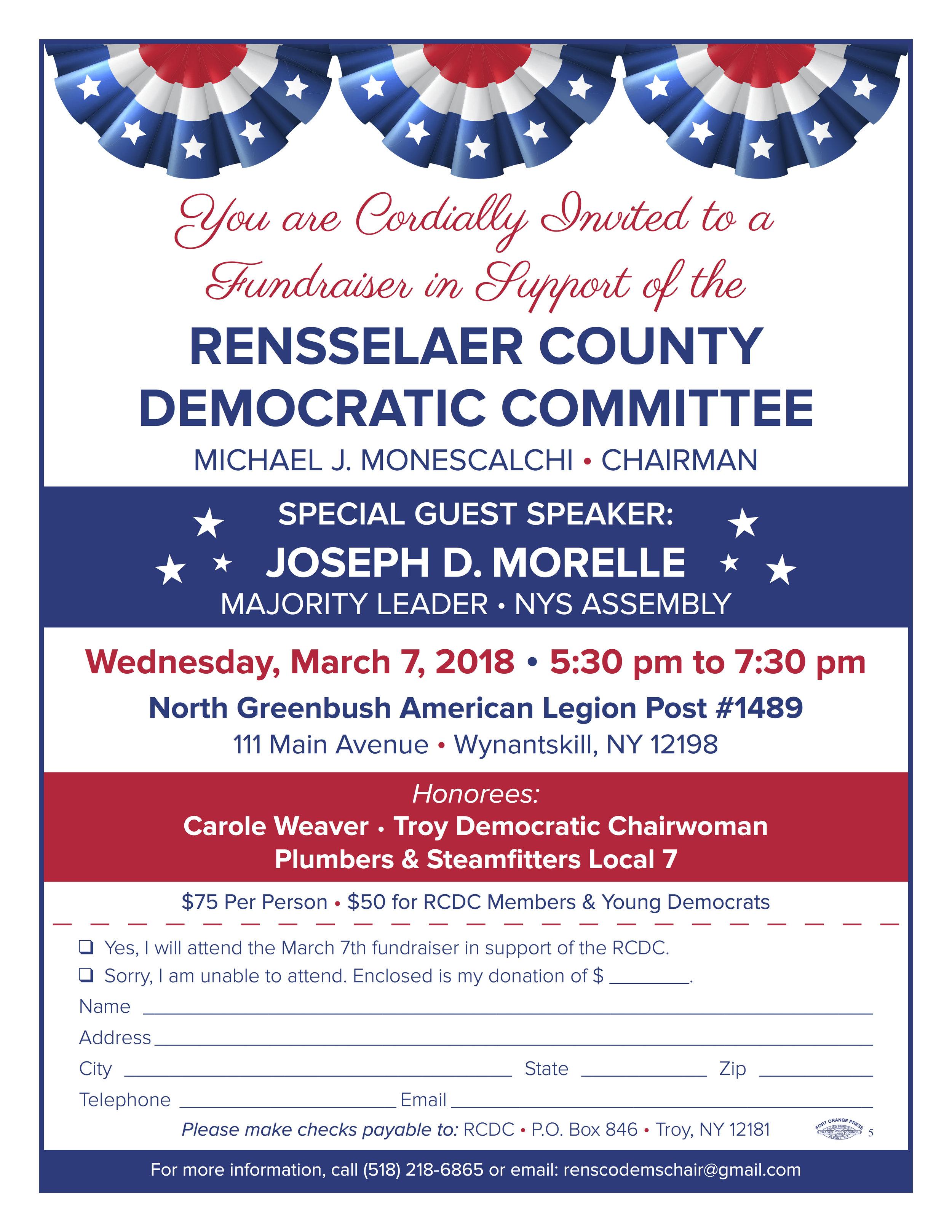Rensselaer County Democratic Committee Fundraiser Invite - March 7 2018.jpg